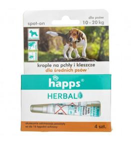 Happs Krople na pchły i kleszcze dla średnich psów 10-20 kg - 4 sztuki