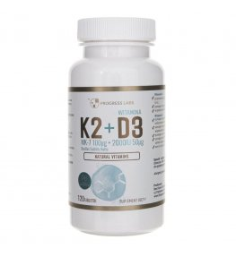 Progress Labs Witamina K2 MK-7 Z Natto 100mcg + D3 2000IU 50mcg - 60 tabletek