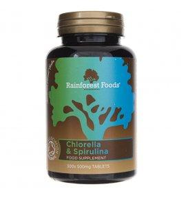 Rainforest Foods Chlorella i Spirulina BIO 500 mg - 300 tabletek