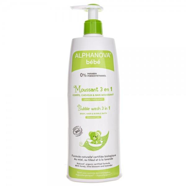 Alphanova Bebe Organiczny płyn do kąpieli dla dzieci 3 w 1 - 500 ml
