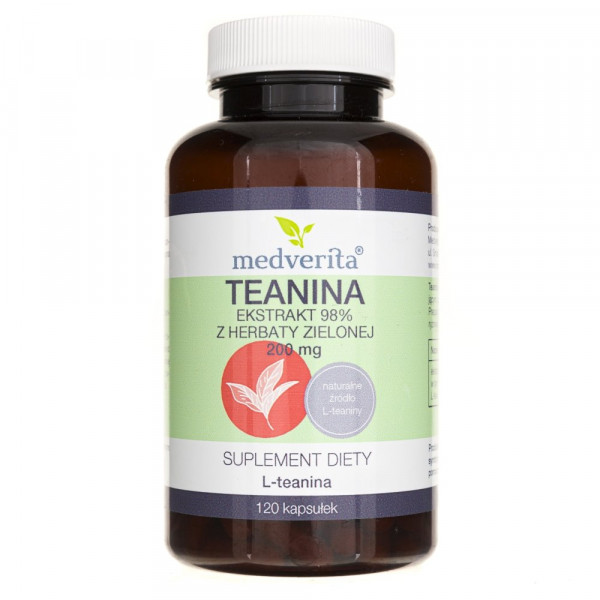 Medverita Teanina 200 mg ekstrakt z herbaty zielonej - 120 kapsułek