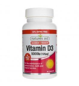 Natures Aid Witamina D3 5000 IU (125 µg) - 80 tabletek