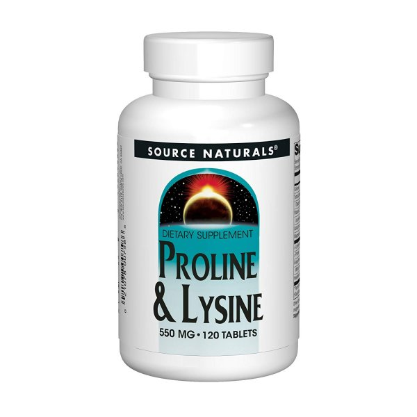 Source Naturals L-Proline L-Lysine 550 mg - 120 tabletek