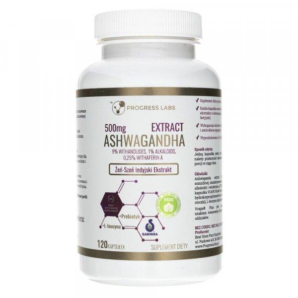 Progress Labs Ashwagandha Ekstrakt 500 mg - 120 kapsułek