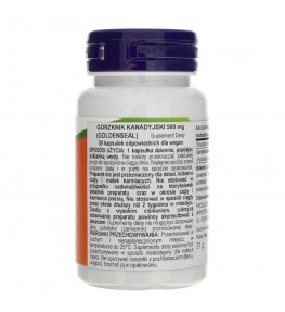 Now Foods Goldenseal Root (Gorzknik kanadyjski) 500 mg - 50 kapsułek