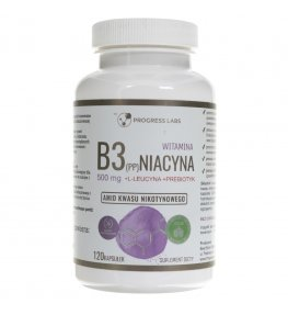 Progress Labs Niacyna Witamina B3 (PP) 500 mg + Inulina - 120 kapsułek