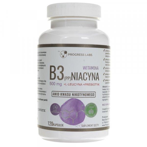 Progress Labs Niacyna Witamina B3 (PP) 500 mg + Inulina - 120 kapsułek