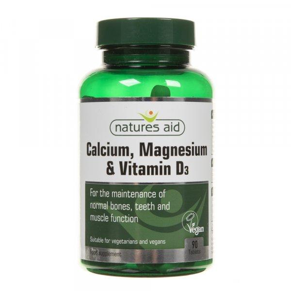 Natures Aid Wapń, Magnez i Witamina D3 - 90 tabletek