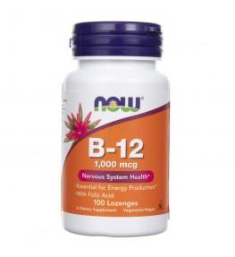 Now Foods Witamina B12 z kwasem foliowym 1000 mcg - 100 tabletek do ssania