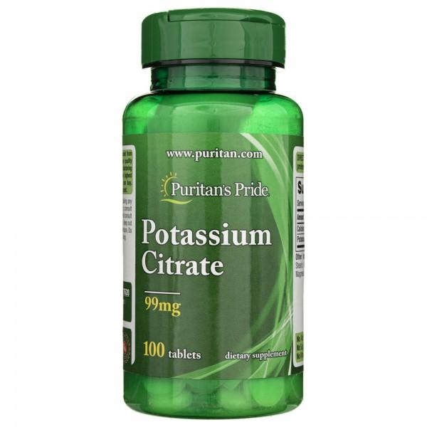 Puritan's Pride Cytrynian Potasu 99 mg - 100 tabletek