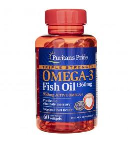 Puritan's Pride Olej Omega-3 potrójna siła 1360 mg - 60 kapsułek