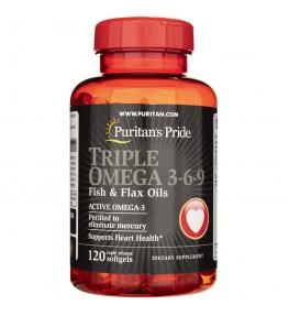 Puritan's Pride Olej Omega-3-6-9 z olejem lnianym - 120 kapsułek