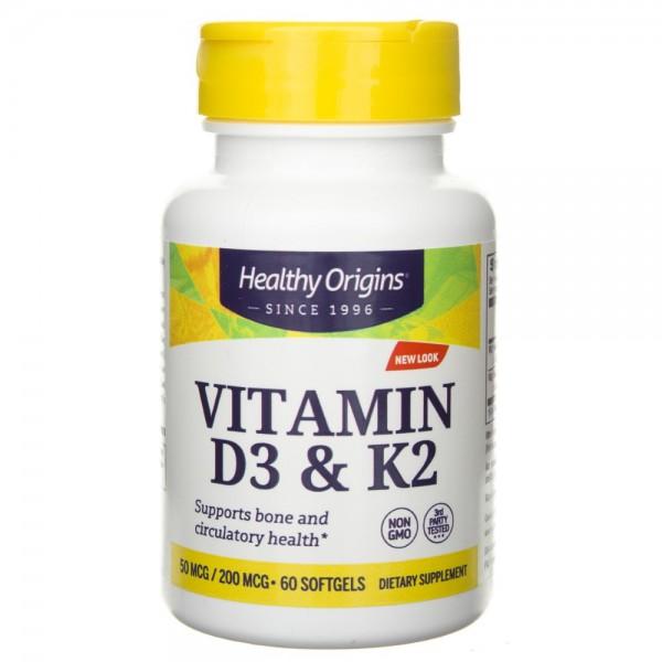 Healthy Origins Witamina D3 i K2 - 60 kapsułek