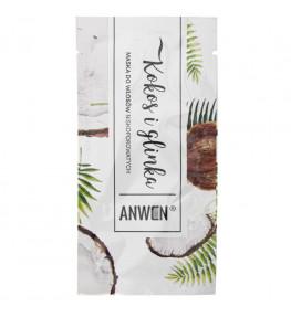 Anwen Maska do włosów niskoporowatych Kokos i Glinka w saszetce - 10 ml