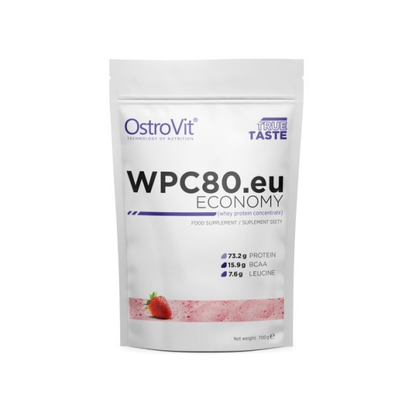 OstroVit Koncentrat białka serwatkowego WPC80.eu Truskawka - 700 g