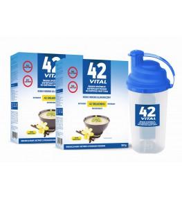 42 Vital Niskokaloryczna dieta roślinna waniliowy smak - 2 x 510 g + shaker