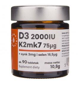 Aura Herbals Witamina D3 2000IU + K2mk7 + Cynk + Selen -  90 tabletek