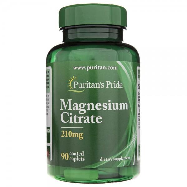 Puritan's Pride Cytrynian Magnezu 210 mg - 90 tabletek