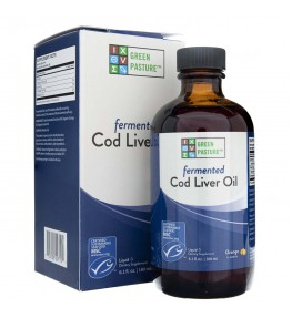 Green Pasture Olej z fermentowanej wątroby dorsza w płynie o smaku pomarańczy - 237 ml