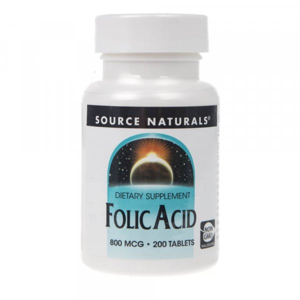 Source Naturals Folic Acid (kwas foliowy) 800 mcg - 200 tabletek