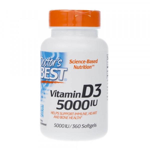 Doctor's Best Witamina D3 5000 IU - 360 kapsułek