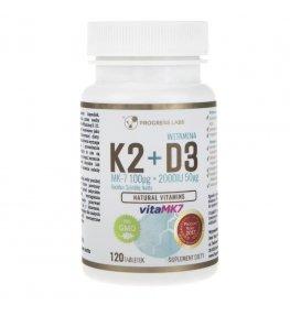 Progress Labs Witamina K2 VitaMK7 100 mcg + D3 50 mcg - 120 tabletek