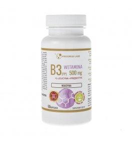 Progress Labs Niacyna Witamina B3 (PP) 500 mg + Inulina - 60 kapsułek
