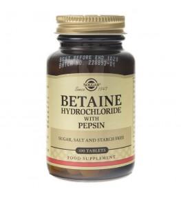 Solgar Betaina (chlorowodorek) z pepsynami - 100 tabletek