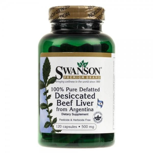 Swanson Beef Liver (100% odtłuszczona i wysuszona wątroba wołowa) 500 mg - 120 kapsułek