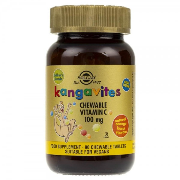 Solgar Kangavites Witamina C smak pomarańczy - 90 pastylek