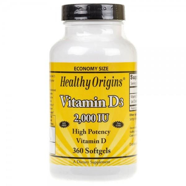 Healthy Origins Witamina D3 2000 IU - 360 kapsułek