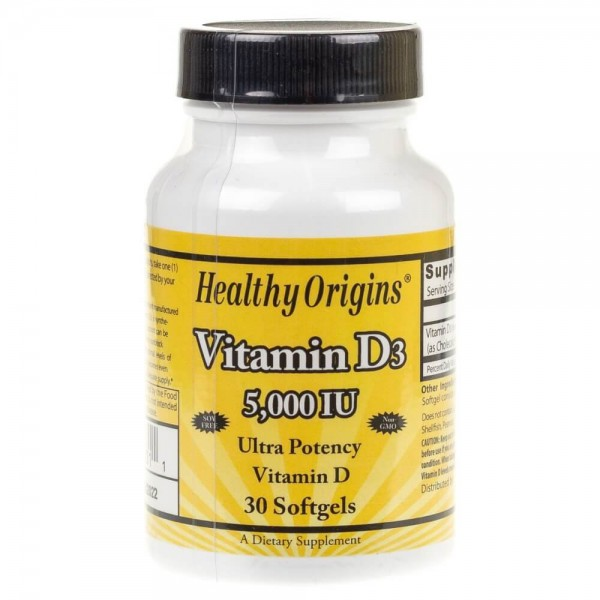 Healthy Origins Witamina D3 5000 IU - 30 kapsułek