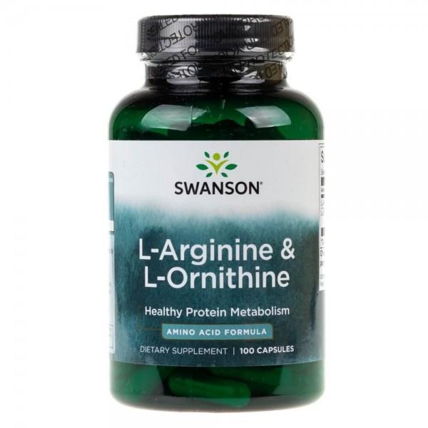 Swanson L-Arginina i L-Ornityna - 100 kapsułek