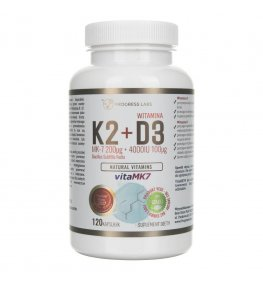 Progress Labs Witamina K2 MK-7 Z Natto 200 mcg + D3 4000 IU 100 mcg - 120 kapsułek