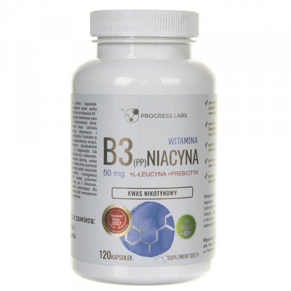 Progress Labs Niacyna Witamina B3 (PP) 50 mg + Inulina - 120 kapsułek