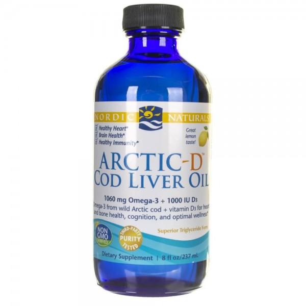 Nordic Naturals Olej z wątroby dorsza z witaminą D cytrynowy - 237 ml