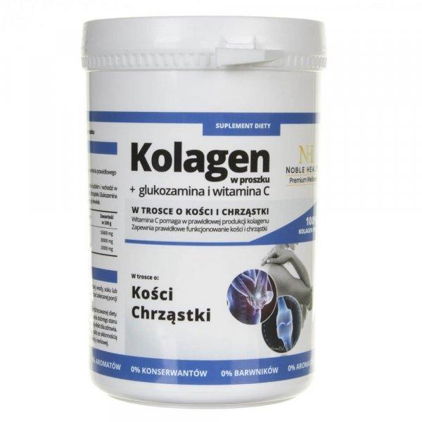 Noble Health Kolagen w proszku + glukozamina i witamina C - 100 g