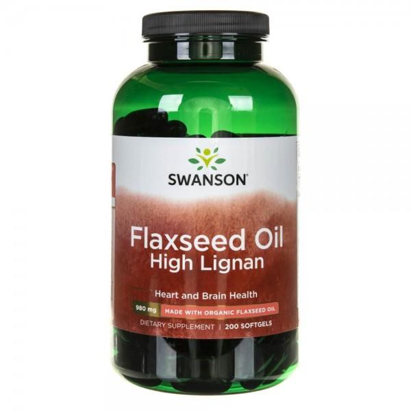Swanson Flaxseed Oil (Olej z siemienia lnianego) 1000 mg - 200 kapsułek
