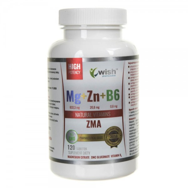 Wish Magnez + Cynk + Witamina B6 - 120 tabletek