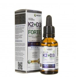 Wish Witamina K2 MK-7 + D3 FORTE w kroplach - 30 ml