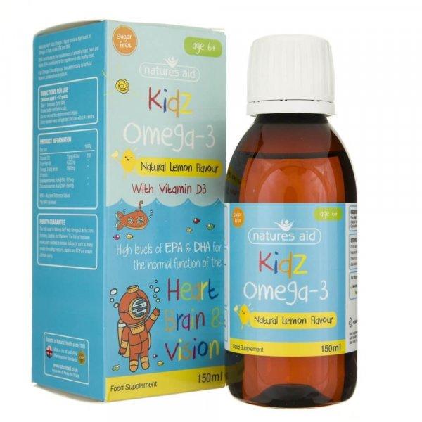 Natures Aid Kidz Omega-3 płyn dla dzieci 6+ - 150 ml